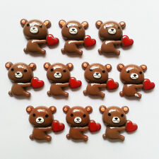 10pcs Bear Hold Heart Resin Flatback Scrapbooking Crafts DIY Making HairBow