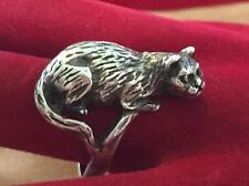Vintage Sterling Silver Kitty Cat Lying Down Ring Size 7.5