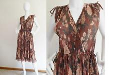 Vintage 70s Floral Ribbed Sheer Faux Wrap Secretary Midi Sun Dress S
