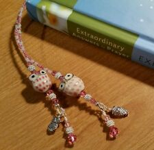 HANDMADE PINK PORCELAIN OWL BEADED THONG BOOKMARK SWAROVSKI CRYSTALS CZECH BEADS