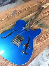 METALLIC FLAKE ICE BLUE STYLE PRO TELE 6 STRING ELECTRIC HOLLOW BODY GUITAR