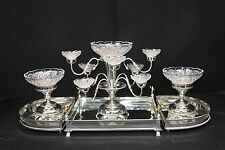 English Silver Plate Boulton Centrepiece Epergne Glass