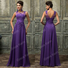 New Women Long Chiffon Lace Evening Formal Party Ball Gown Prom Bridesmaid Dress