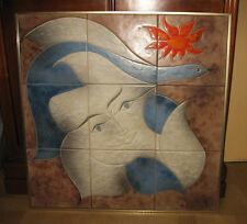 Très grand panneau céramique de Vallauris signé Gilbert Valentin Les Archanges.