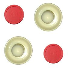 2 Almond Table Hockey Paddles + 2 Red home Air Pucks (parts).