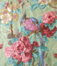 Antique French Floral Bird Roses Cotton Fabric ~  Oxidized Green Lavender Pink