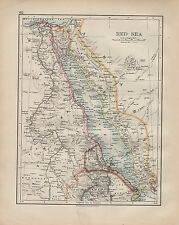 1900 VICTORIAN MAP ~ RED SEA ~ ARABIA EGYPT SUDAN ERITREA DAHLAC TIGRE