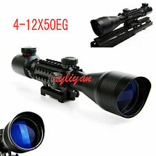 4-12X50EG Top Green&Red Mil Dot laser Rifle Scope Sight with Tri-Side Rail Mount