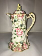 Antique Haviland & Co Limoges Chocolate Pot ~ Pink Flowers, Gilt ~ Pot Only!