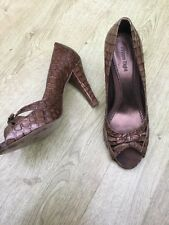 PHASE EIGHT PATENT BROWN LEATHER CROC PEEP TOE SHOES SIZE 7 /41 RRP £80