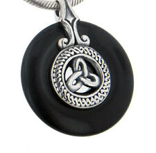 Sterling Silver Celtic Triskele Knot on Black Onyx Disc Slide Pendant
