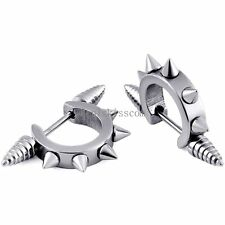 Spike Cool Stainless Steel Earrings Hip Hop Mens Awl Taper Huggie Hoop Ear Cuff