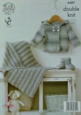 KNITTING PATTERN Baby Double Breasted Hooded Jacket, Bootees & Blanket DK 4487