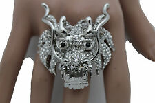 New Women Silver Metal Ring Fashion Jewelry Elastic Band Big Chinese Dragon Head