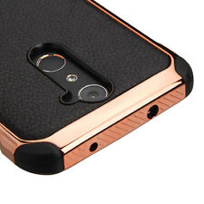 BLACK ROSE GOLD Lychee COVER CASE + CLEAR SCREEN FILM FOR ZTE Zmax Pro PHONE