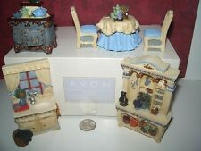 Miniature Dollhouse Furniture AVON Kitchen table chairs hutch sink stove 6pc new