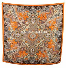 "Luxurious Large 35""x35"" Paisley Design 100% Silk Twill Scarf Wrap, Brown/Orange"