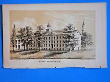 """ANTIQUE NEW YORK print """"KINGS COLLEGE, now COLUMBIA UNIV""""-VALENTINES MANUAL 1857"""
