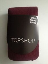 BNWT BURGUNDY/WINE TOPSHOP FLEECE LINED WARM WINTER TIGHTS SIZE S/M