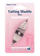 Tatting shuttle con orlo Needle Craft 70 mm di larghezza in metallo