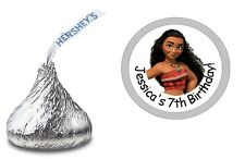 108 MOANA PERSONALIZED HERSHEY KISS KISSES LABELS STICKERS BIRTHDAY PARTY FAVORS