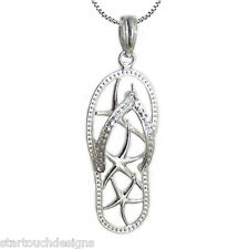 New .925 Sterling Silver Starfish Flip Flop Pendant Necklace