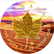 2017 1 Oz Silver Maple Leaf DESERT SUNSET Coin,24kt Gold Gilded.