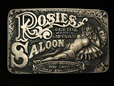 QC09155 VINTAGE 1980s **ROSES GOOD TIME EMPORIUM & SALOON** SOLID BRASS BUCKLE