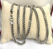 "18k Solid White Gold Man Big Wheat Chain/Necklace Dimond Cut. 26"". 18.70 Grams"