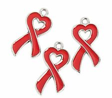 36 Go Red for Women Ribbon Hearts Metal Charms AIDS DARE MADD Stroke Awareness