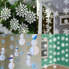 3m 3D Snowflakes Cardboard Hanging Ornaments Christmas Holiday Home Accessories