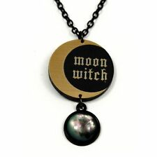 """Moon Witch"" Halskette • Mond Hexe Wicca Kette Halloween Stein schwarz Moonchild"