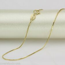FINE 17.7INCH Solid 18K Yellow Gold Necklace 0.7mm Box Link Chain