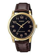 Casio Men's Brown Leather Strap Watch, Black Dial, MTP-V001GL-1B
