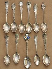 Antique Sterling Silver Souvenir Spoon Collection 27 Photos