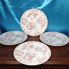 Set 4 Discontinued Dinner Plates-Queen's Chelsea Toile Pink Columbia