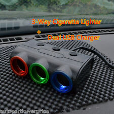 2in1 Dual USB Charger Adapter 3-Way Cigarette Lighter Socket Splitter With LED