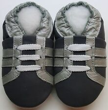 Minishoezoo boots grey silver 6-12 m soft sole baby shoes leather slippers