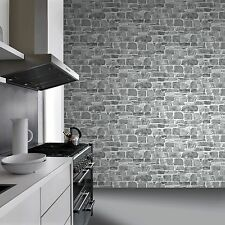 GREY STONE WALL WALLPAPER - RASCH 265620 - NEW FEATURE WALL BRICK
