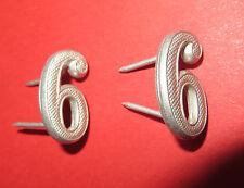 """Lot de 2 chiffres  """"6"""" pour tenue ou épaulettes d' uniforme, aluminium"""