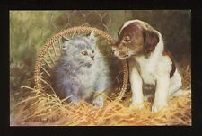 Animals PUPPIES KITTEN Artist Can't We Be Friends PPC WW2 patriotic message