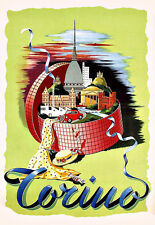 Art Ad  Italy Torino  Travel  Deco  Poster Print