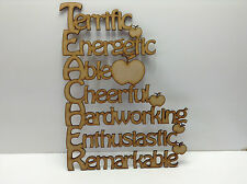MDF,  TEACHER with words 190mm by 140mm - Laser Cut
