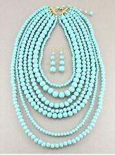 SEVEN LAYERS TURQUOISE BLUE LUCITE BEAD NECKLACE EARRING
