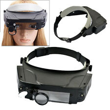LED HANDS FREE GLASSES MAGNIFIER MAGNIFYING LENS LIGHT ADJUSTABLE  SOLDERING