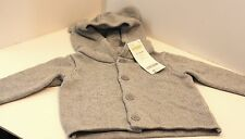 NWT Gymboree 6-12m Hooded sweater cardigan baby boy girl gray bear ears REG $22+