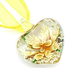 Yellow Flower Heart Lampwork Murano Glass Bead Pendant Ribbon Necklace Cord