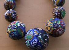 STUNNING V CHUNKY LONG VINTAGE VENETIAN MATT MILLEFIORI GLASS BEAD NECKLACE