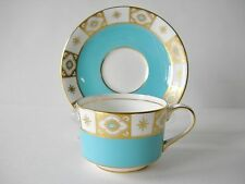 WONDERFUL VINTAGE AYNSLEY HAND PAINTED TEACUP AND SAUCER TURQUOISE AND GOLD NICE