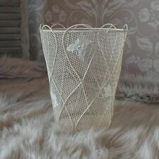 Cream metal painted butterfly waste bin shabby vintage chic living room bedroom